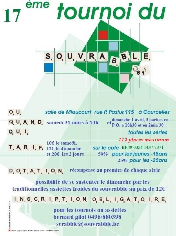 Tournoi du Souvrabble 2018 @ salle Miaucourt | Courcelles | Région wallonne | Belgique