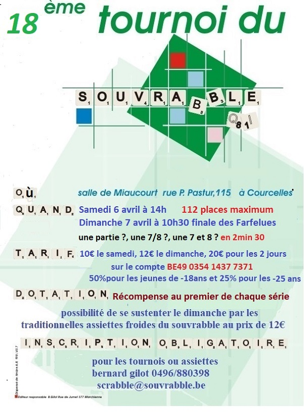 Tournoi du Souvrabble 2019 @ salle Miaucourt | Courcelles | Wallonie | Belgique