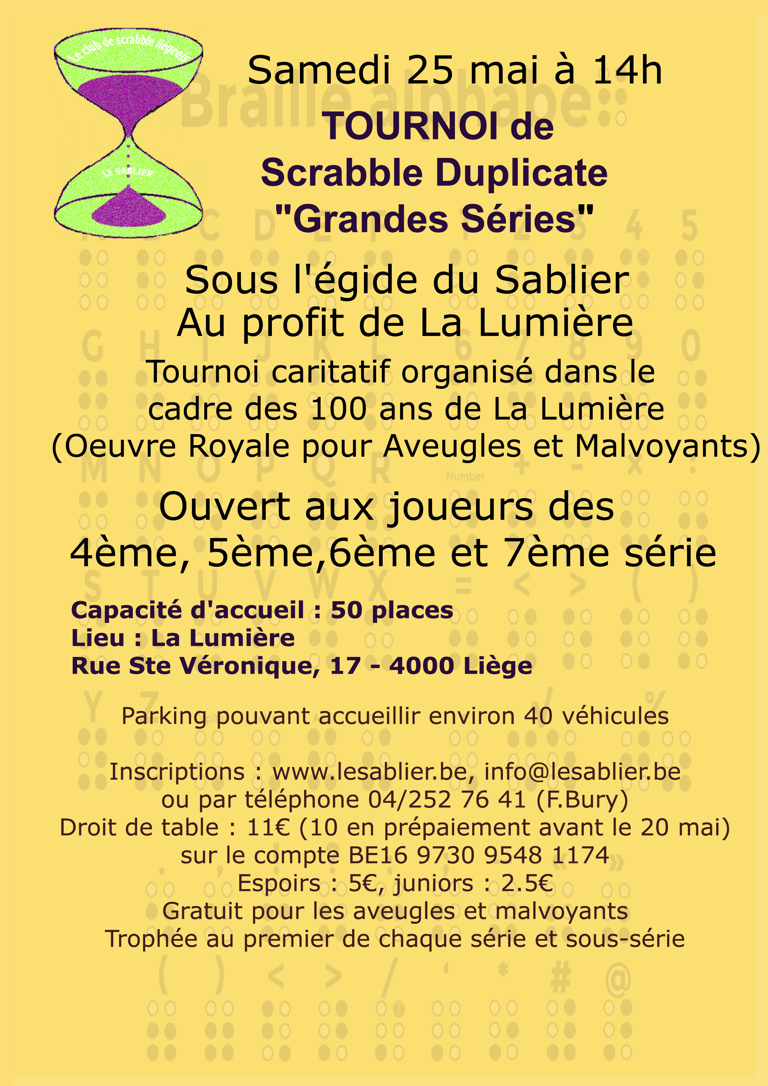 Tournoi du Sablier pour les bonnes Œuvres @ La lumière | Liège | Wallonie | Belgique